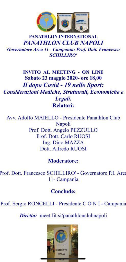 Dal Panathlon Napoli, un invito