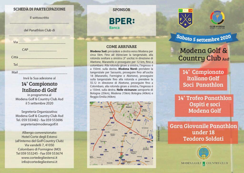 14° Campionato Italiano Golf Soci Panathlon - Modena 5 Settembre 2020