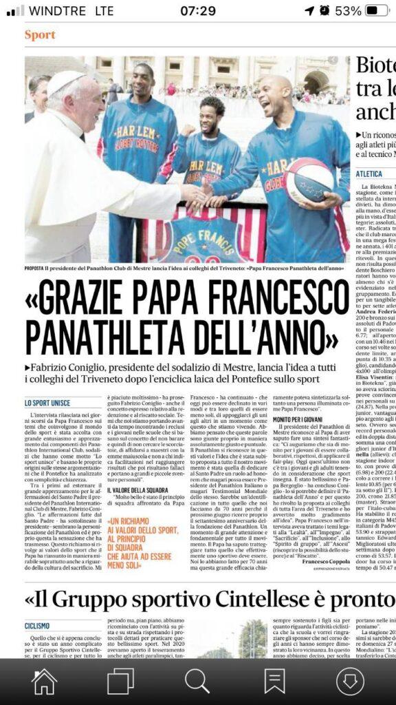 Papa Francesco parla da panathleta nel segno di