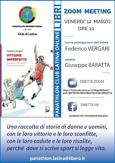 """Il Panathlon Club di Latina presenta il libro di Federico Vergari """"Vittorie imperfette"""""""