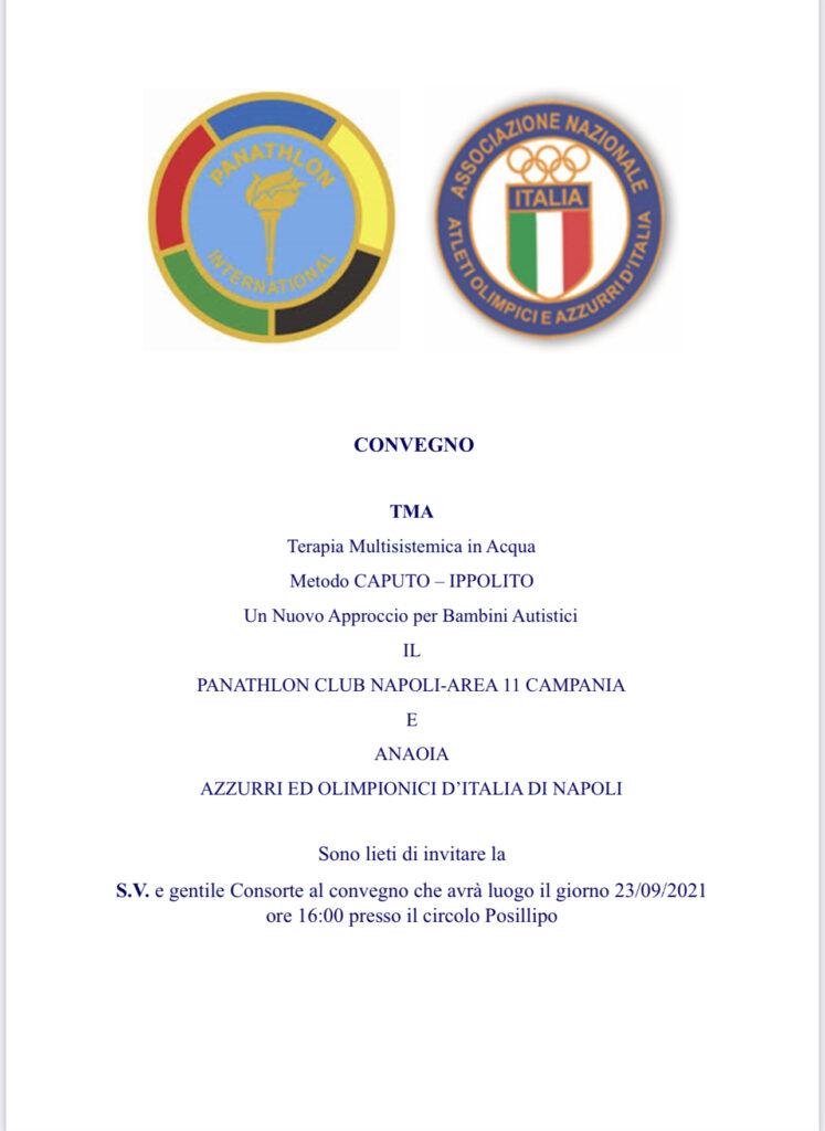 Prossimo Settembre 2021 - Panathlon Club Napoli, Area11 Campania, Associazione Nazionale Atleti Olimpici e Azzurri d'Italia INSIEME nel progetto per affrontare l'autismo